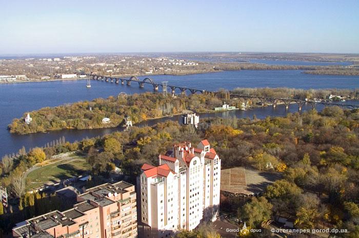Общий вид на парк Шевченко, Монастырский остров
