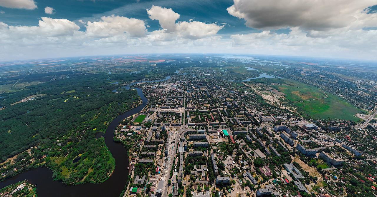 Новомосковск с высоты 500м