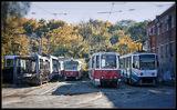 Осень в трамвайном депо
