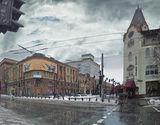 В центре города, дождь