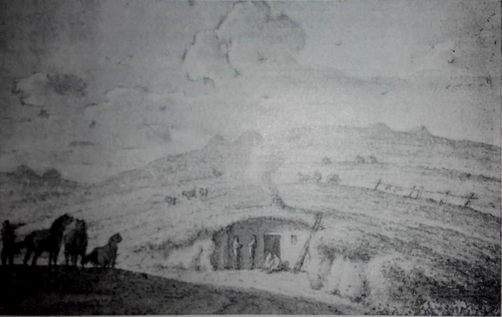Запорожская землянка между Старым и Новым Кайдаками. Рисунок Жана-Анри Мюнца 1781 года Мифы и реальность: тайны днепровских подземелий