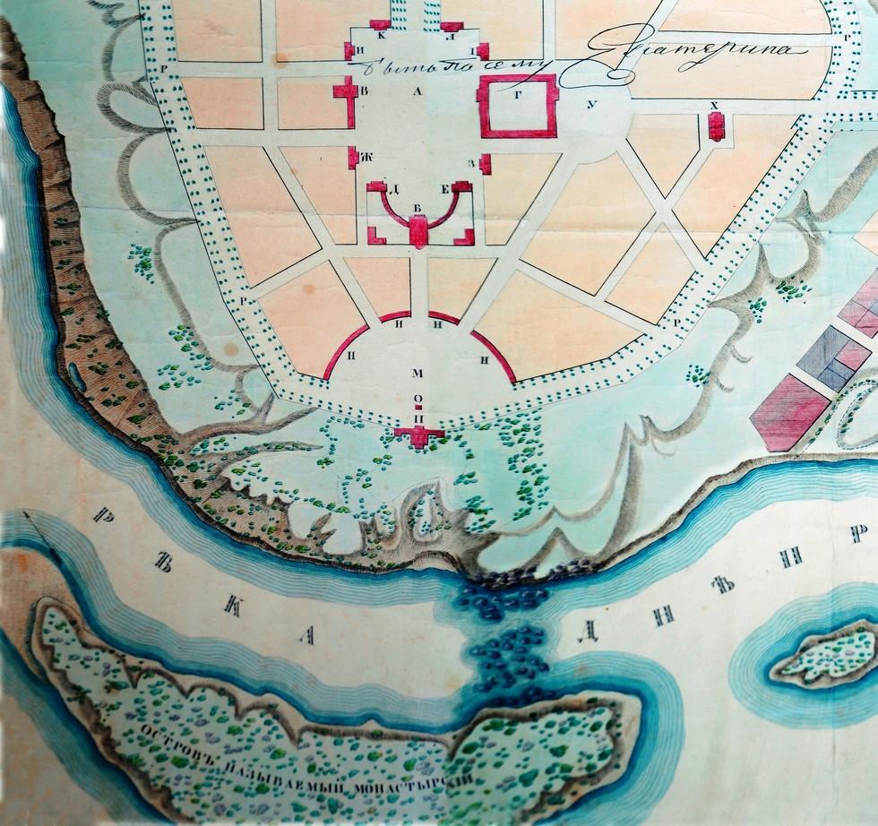 Участок между собором и островом изобилует подземельями. Генеральный план Старова 1792 года Мифы и реальность: тайны днепровских подземелий