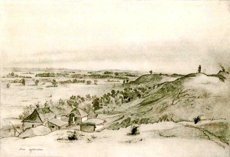 Рисунок Т.Г. Шевченко «На Орелі» (1845) Тайны Днепра: великий Кобзарь на Приднепровье