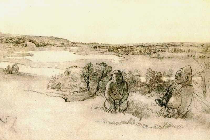 Рисунок Т.Г. Шевченко «Краєвид з кам'яними бабами» (1845) Тайны Днепра: великий Кобзарь на Приднепровье