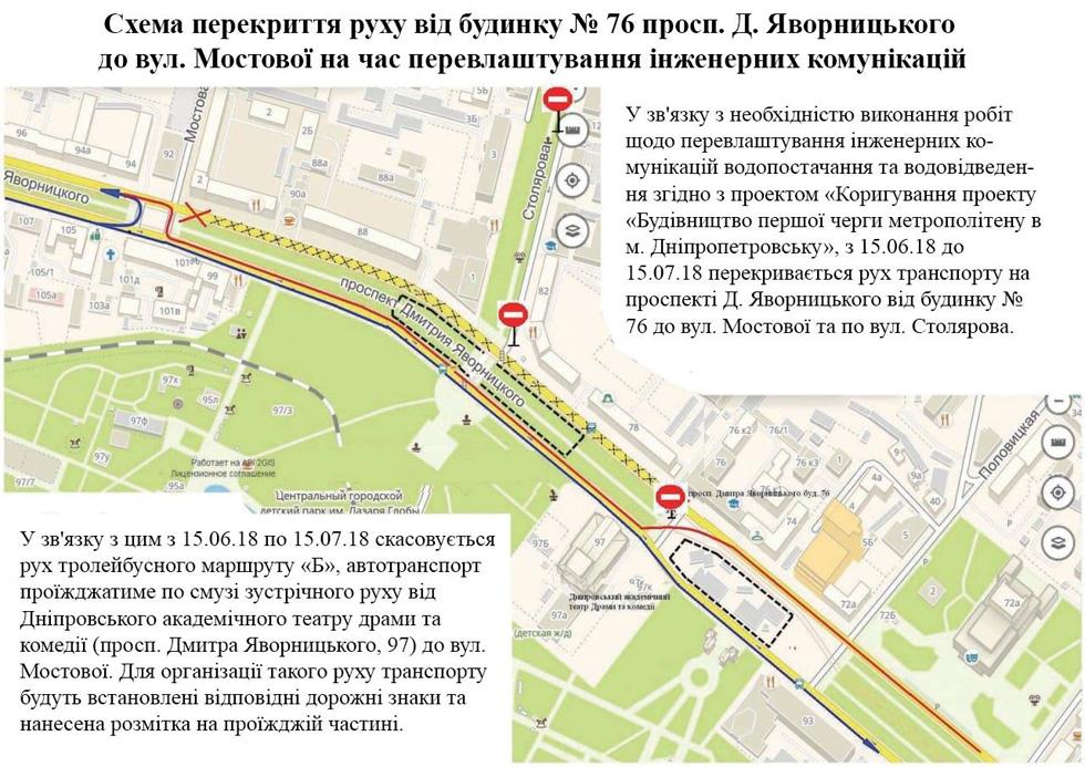 С 15 июня до 15 июля перекроют движение транспорта по проспекту Дмитрия Яворницкого и улице Столярова