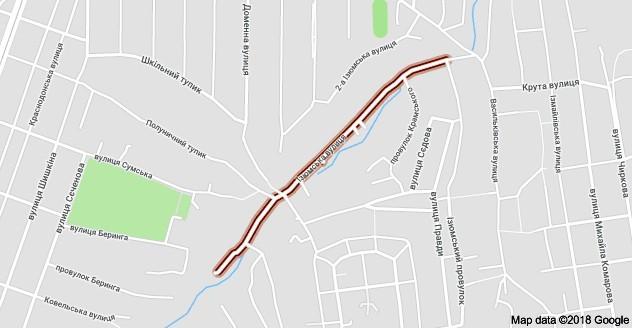 Изюмские улицы и переулки на карте Днепра