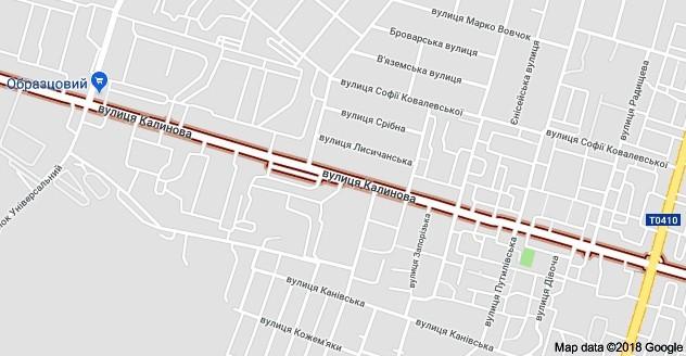 Калиновая улица на карте Днепра