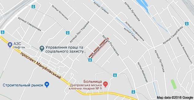 Улица Фруктовая на карте Днепра