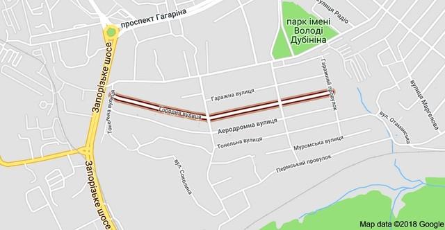 Огородная улица на карте Днепра