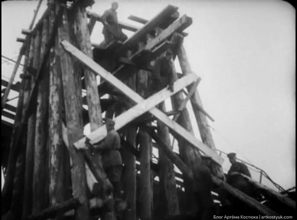 Красноармейцами быстро был сооружен временный деревянный мост Тайны старых мостов Днепра