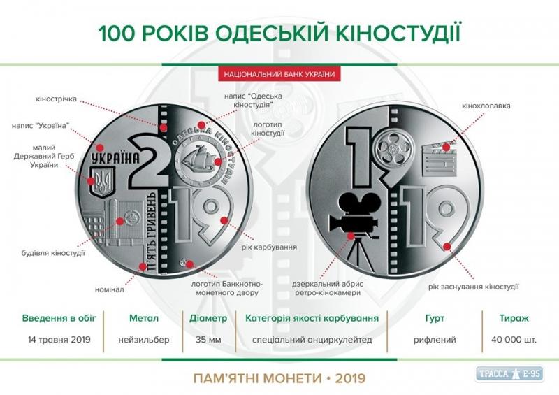 В Украине выпустили памятную монету в честь столетия Одесской киностудии