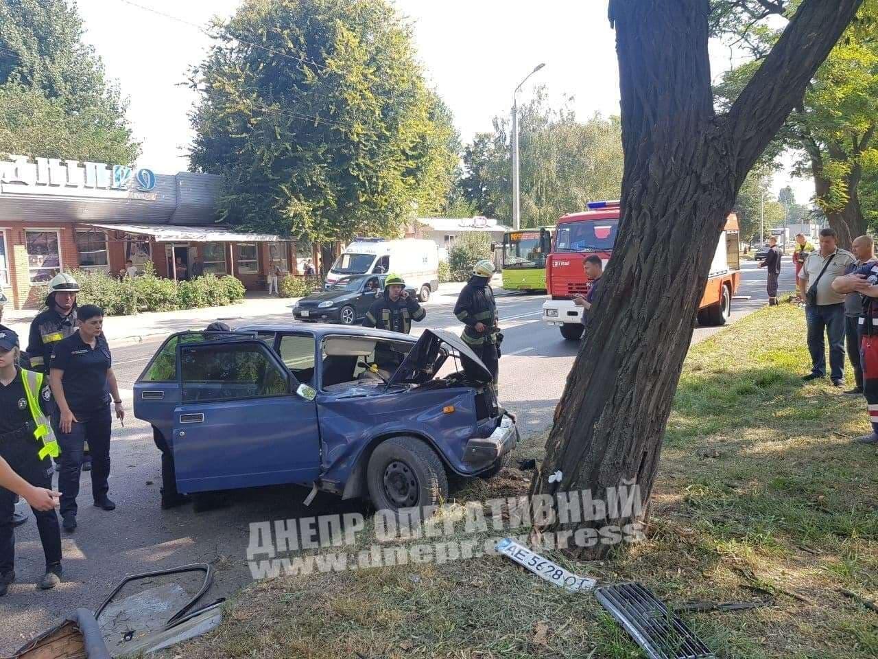 В Днепре на Криворожской ВАЗ влетел в дерево: водитель погиб на месте