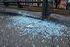В центре Днепра стеклянная остановка разбилась на мелкие осколки