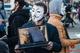 В Днепре на Европейской площади люди в масках Анонимуса пропагандировали веганство