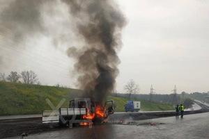 На Криворожской трассе сгорел грузовик