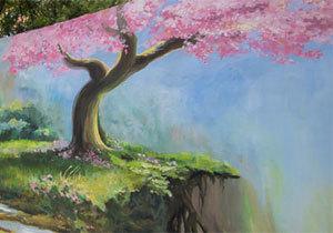 В Днепре парапет дома украсили водопад и цветущая сакура