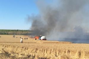 На Днепропетровщине спасатели ликвидировали возгорание на поле с пшеницей