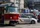 В Днепре возле здания ОГА столкнулись трамвай и Toyota Prius полицейских