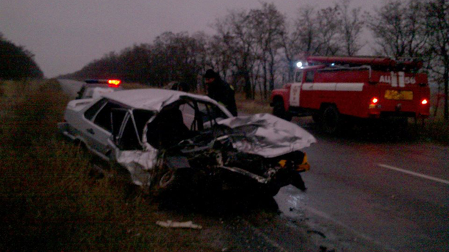 ВТомаковском районе ВАЗ столкнулся сКАМАЗом